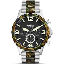 Men's Fossil Nate Chronograph Camouflage And Steel Watch JR1498