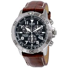 Citizen BL5250-02L Mens Black Dial Analog Watch with Leather Strap