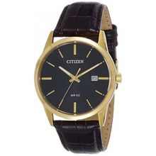 Citizen BI5002-06E Mens Quartz Gold Stainless Steel Case Brown Leather Band Black Dial Round Watch