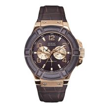 Guess W0040G3 Mens Brown Dial Analog Quartz with Leather Strap Watch