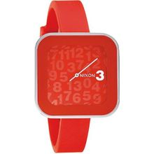 Nixon A16220000 Womens Red Dial Analog Quartz Watch with Silicone Strap