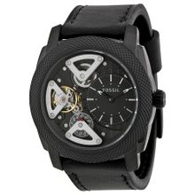 Fossil ME1121 Mens Black Dial Analog Quartz Leather Strap Watch