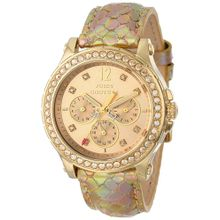 Juicy Couture 1901062 Womens Gold Dial Analog Quartz Watch with Leather Strap