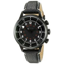 Bulova 65A107 Mens Black Dial Analog Mechanical Watch with Leather Strap