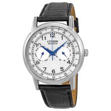Citizen Eco-Drive A09000-06B Mens Silver Dial Analog Watch with Leather Strap