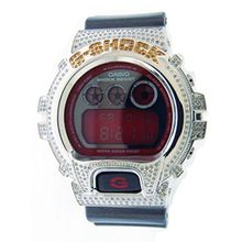 Casio DW-6900Blk-Red Mens Red Dial Digital Watch with Rubber Strap