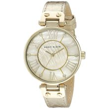 Anne Klein AK/1012GMGD Womens Mother-Of-Pearl Calf Skin Quartz Watch