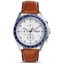 Fossil CH3029 Mens Stainless Steel Case Brown Leather Band White Dial Round Analog Watch
