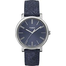 Timex Women's T2P171 Blue Leather Quartz Watch with Blue Dial