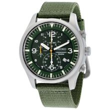 Seiko SNDA27 Mens Green Dial Analog Quartz Watch with Nylon Strap