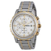 Fossil FS4795 Mens Silver Dial Analog Quartz Stainless Steel Watch