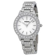 Fossil ES2362 Womens White Dial Analog Quartz Watch with Stainless Steel Strap