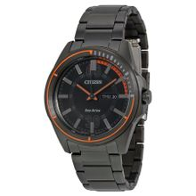 Citizen Htm AW0038-53E Mens Black Dial Analog Watch with Stainless Steel Strap