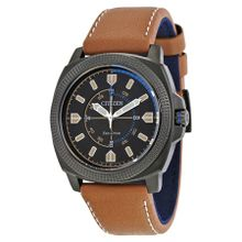 Citizen BJ6475-00E Mens Black Dial Analog Watch with Leather Strap