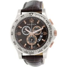 Nautica NAD19503G Mens Brown Dial Analog Quartz Watch with Leather Strap