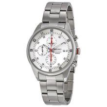 Seiko SNDC87 Mens Silver Dial Analog Quartz Stainless Steel Watch