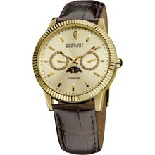 August Steiner AS8051YG Mens Gold Dial Analog Quartz Watch with Leather Strap