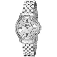 Bulova 63R145 Womens Silver Dial Analog Quartz Watch with Stainless Steel Strap