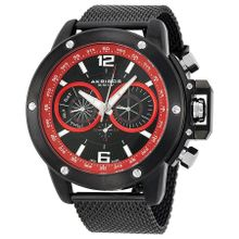 Akribos Xxiv AK515BK Mens Black And Red Dial Analog Quartz Watch