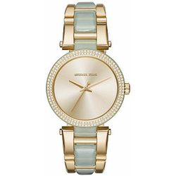 Women's Michael Kors Delray Gold-Mint Tone Acetate Crystalized Watch MK4317