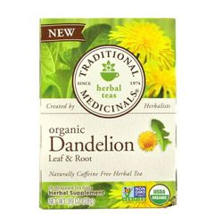 Traditional Medicinals, Herbal Teas, Organic Dandelion Leaf & Root Tea, Naturally Caffeine Free, 16 Wrapped Tea Bags, .99 oz (28 g) TRA-00235