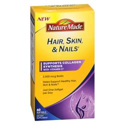 Nature Made Hair/Skin/Nails 2500mcg of biotin Supports Collagen Synthesis with Vitamin C - 60 Softgels