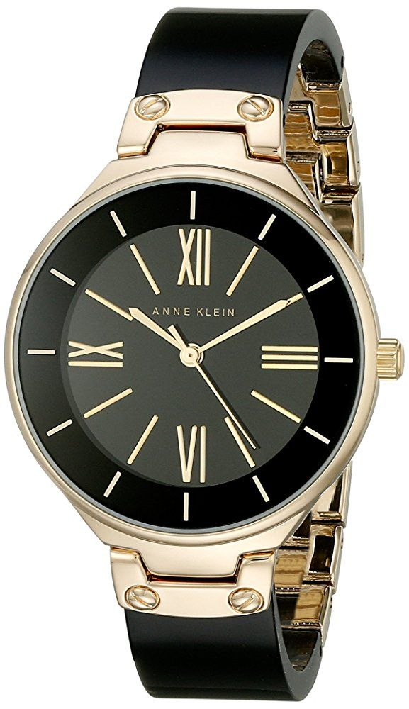 Women 39 s watches anne klein ak1958bkgb womens gold tone and black resin bangle watch was listed for Black resin ladies watch
